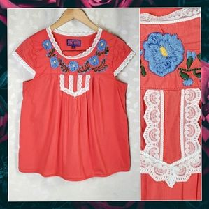TRACY FEITH Floral Embroider Lace Peasant Top Targ